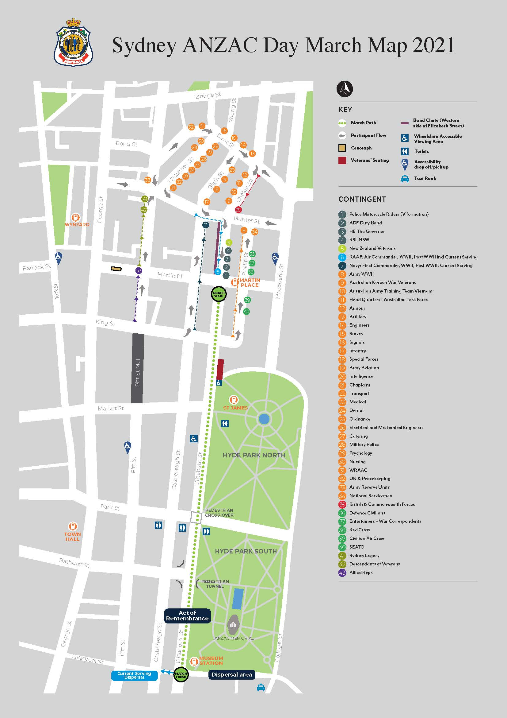 Map of starting point and march for ANNZAC Day March in Sydney 2021