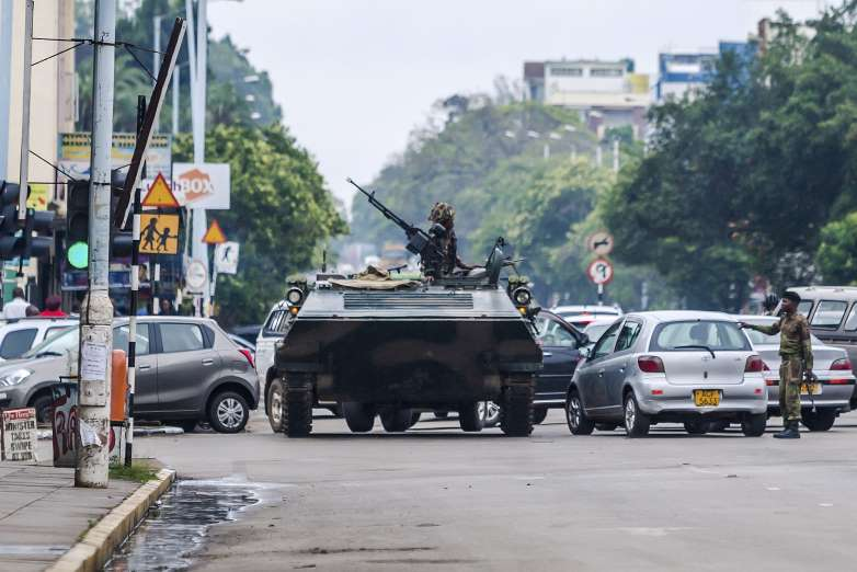 Army presence through Harare during coup in November 2017