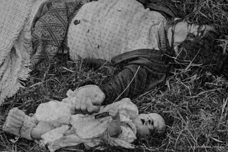 Body of Pamela Joyce with three month old baby killed at Elim Mission on 23 June 1978