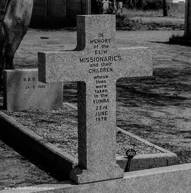 Photo of headstone for victims from the Elim Mission massacre by ZANLA in Vumba in Zimbabwe formerly Rhodesia on June 23rd 1978