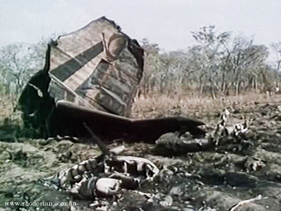 Tailpiece of Viscount Hunyani shot down by ZIPRA missile