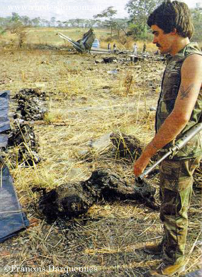 Rhodesian security forces survey remnants from Air Rhodesia crash after attack by ZIPRA missile