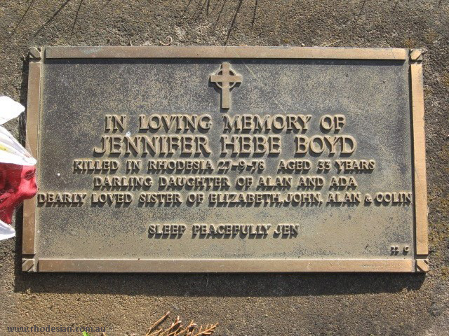 Meomial plaque to nurse Jennifer Boyd nurse shot by ZANLA forces while on duty in Rhodesia in 1978