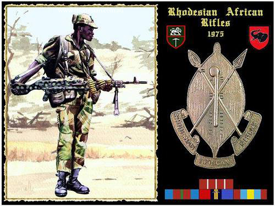 Photo of Rhodesian African Rifles soldier with MAG and a Regimental badge