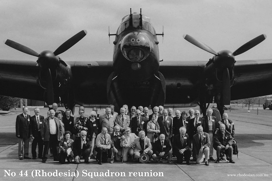 Photo of No 44 Rhodesia Squadron reunion in front of a Lancaster bomber