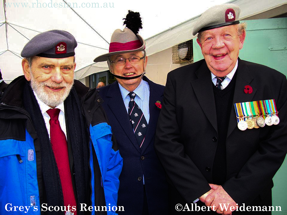Photo of Grey's Scouts Reunion in UK Sgt Major Don Kenny Lt Col Chris Pearce Lt Col Mick McKenna