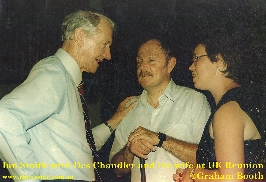 Photo of reunion with Ian Smith former prime Minister of Rhodesia with Des Chandler and his wife at Devizes in UK