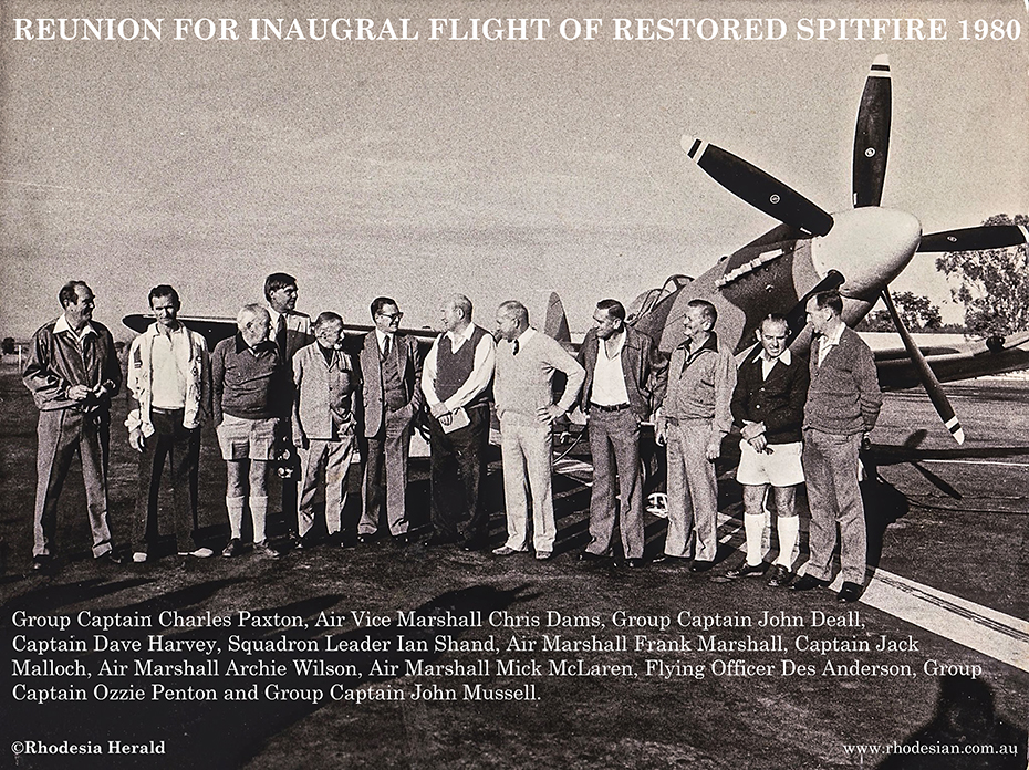 Photo of 12 former Spitfire pilots who assembled for flight of restored Spitfire by Jack Malloch
