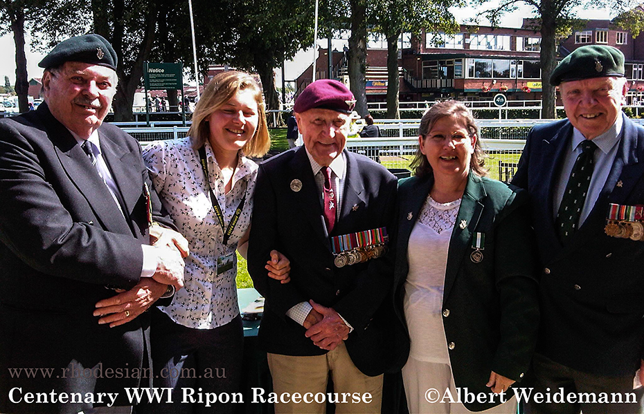Photo of Centenary of World War I at Ripon Racecourse August 2014 Major General Mike Shute RSM Jock Hutton Lt Col Hobo Hobson