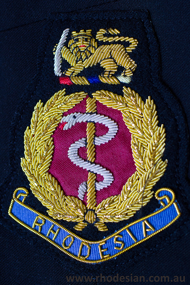 Rhoedsian Army Medical Corp embroidered blazer badge available from Norm Davies
