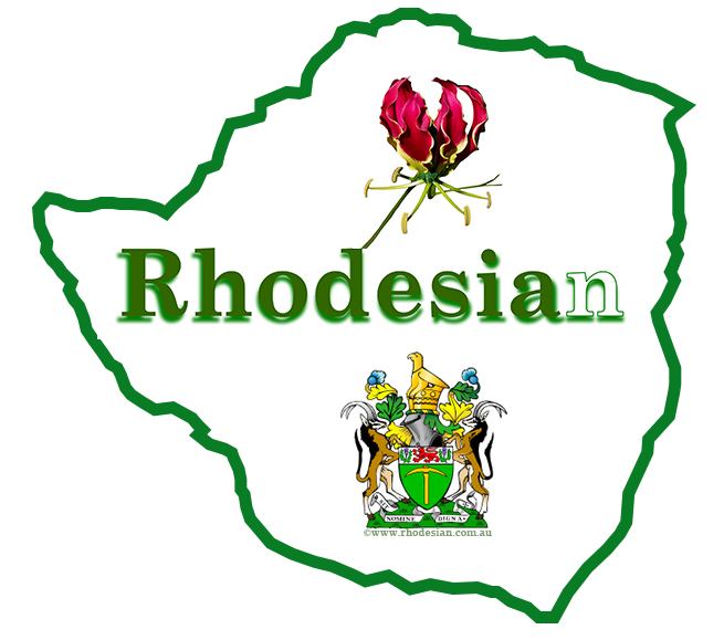 Rhodesian website logo with Flame lily, Rhodesian coat of arms and the word Rhodesian