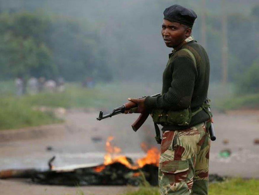 Soldier sent in to quell protests in Zimbabwe