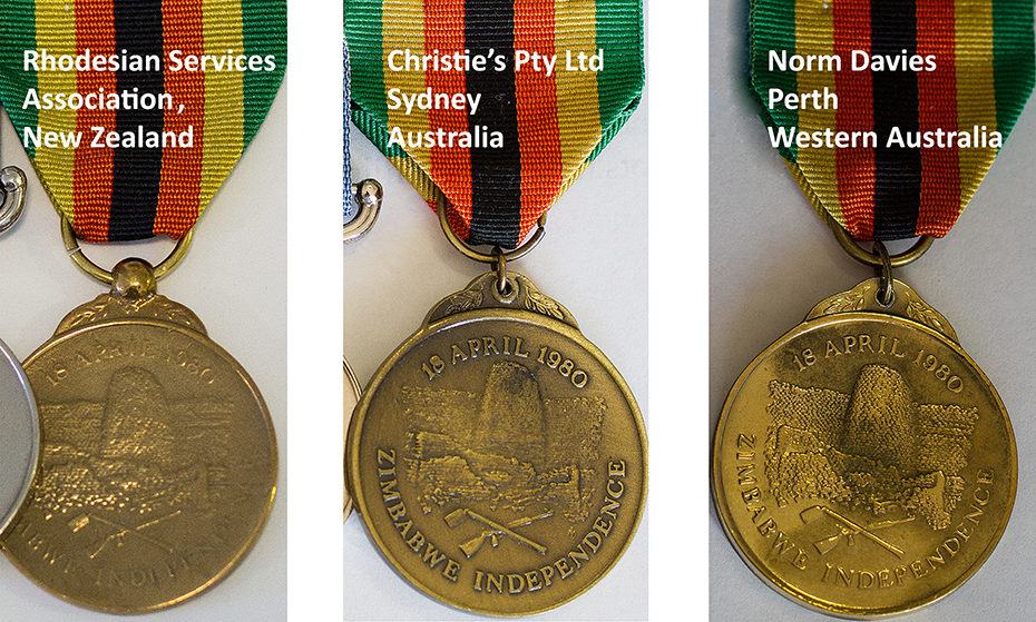 Replicas of Zimbabwe IndependenceM edals in Australia and New Zealand