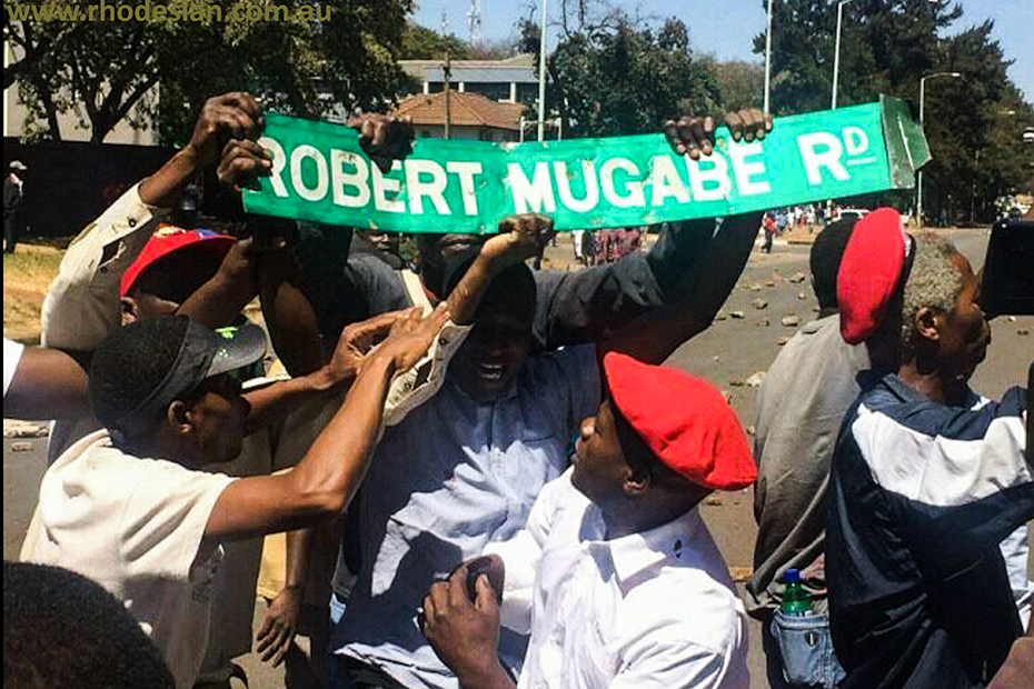 Protesters clutch thewir trophy a Robert Mugabe Rd sign during protests