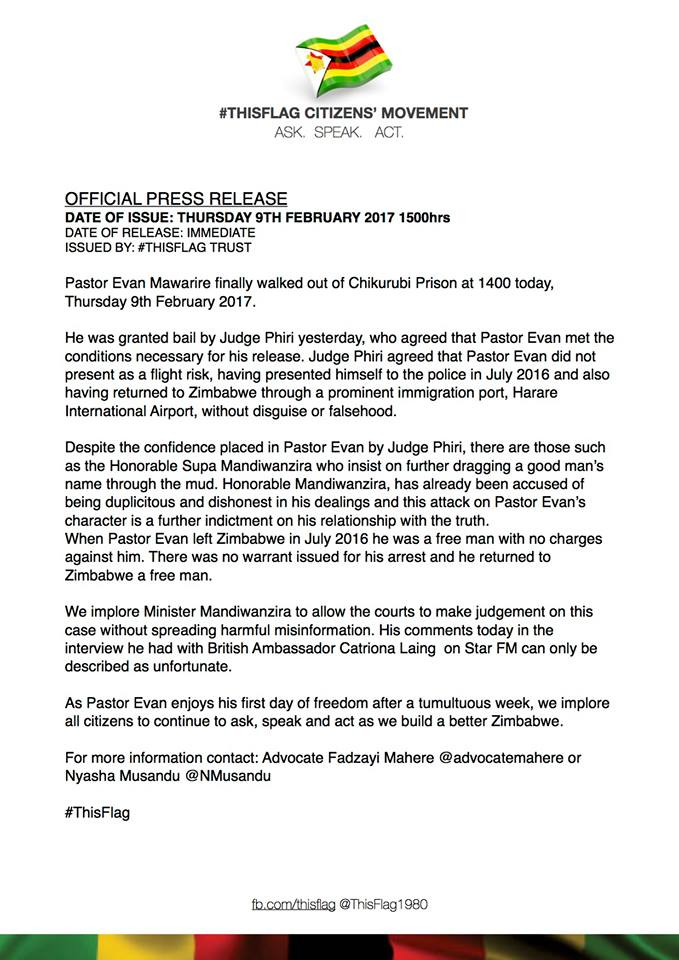 Press release announces Pastor Evan released from detention from Chikurubi Prison after his arrest at Harare International Airport on return from six months exile in USA