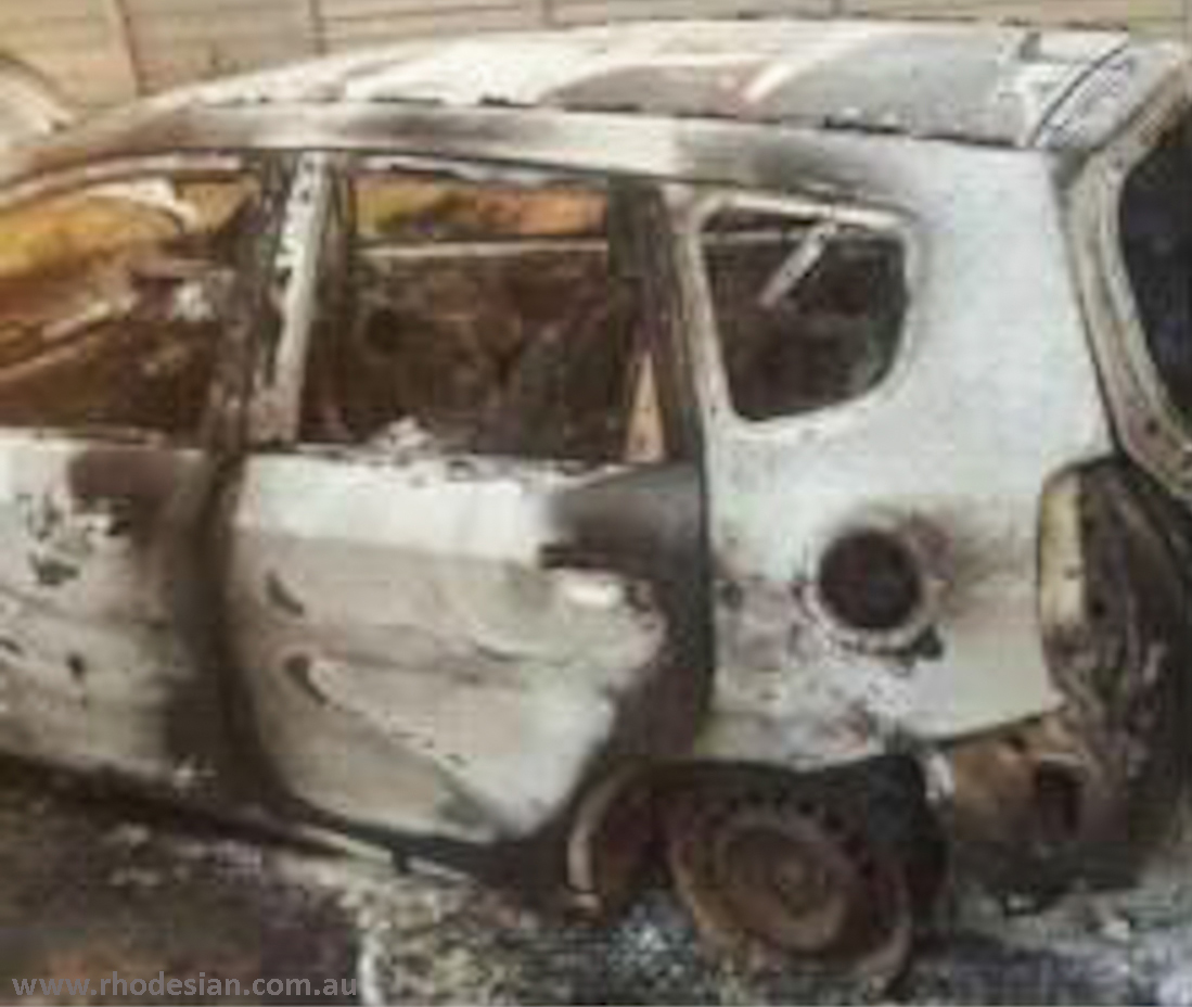 Burnt out vehicle after abduction and beating of activits before protest in Harare on 18 November 2016