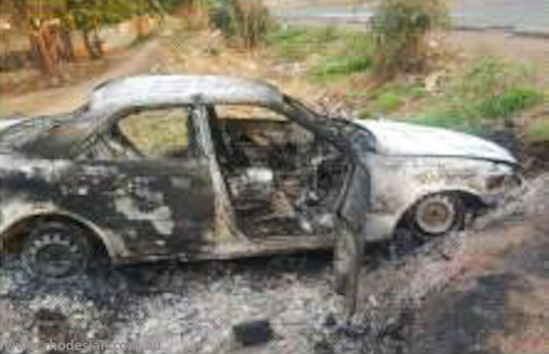 Burnt out car after abduction of Patson Dzamara prior ro Protest Against Bond Notes in Harare on 18th Novevember 2016