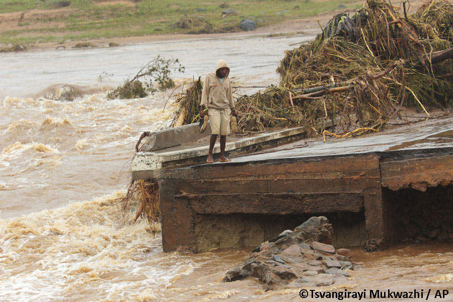 Bridge washed away at Chimanimani in March from Cyclone Idai with damage aggravated by desturction from bush clearing and illegal mining